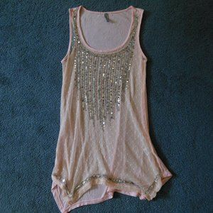 Vanity XS Pink Lace Silver Sequin Bead Tank Top
